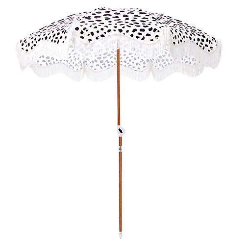 Cheetah Print Beach Umbrella, Black/Sand