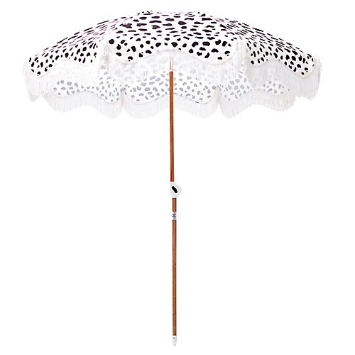 Cheetah Print Beach Umbrella, Black/Sand