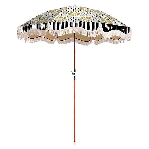 Mosaic Tile Beach Umbrella, Gold/Blue