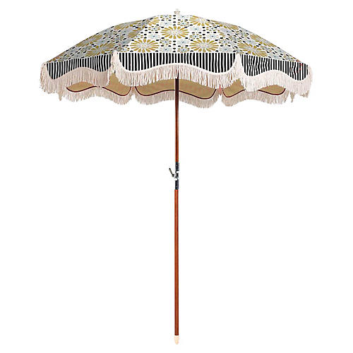Mosaic Tile Beach Umbrella, Gold/Blue