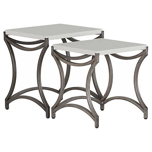 Caroline Outdoor Side Table, Charcoal/Travertine
