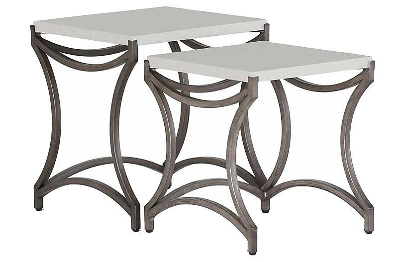 Caroline Outdoor Nesting Tables, Charcoal/Travertine