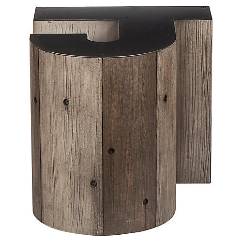 Alphabet J Side Table, Gunmetal