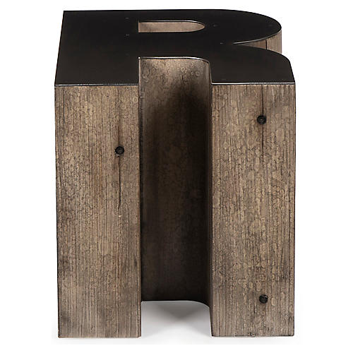 Alphabet R Side Table, Gunmetal