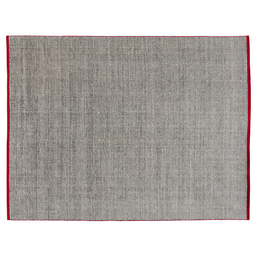 9'x12' Modern Solid Rug, Gray/Red