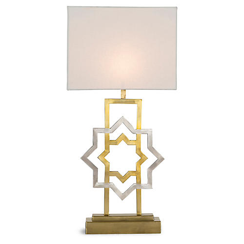Maroc Star Table Lamp, Stain Brass