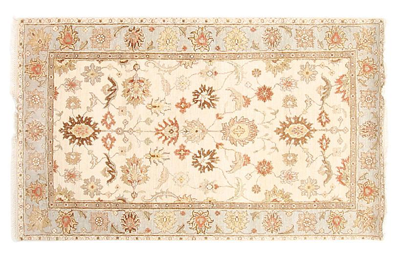 3'x5' Agra Rug, Ivory/Blue