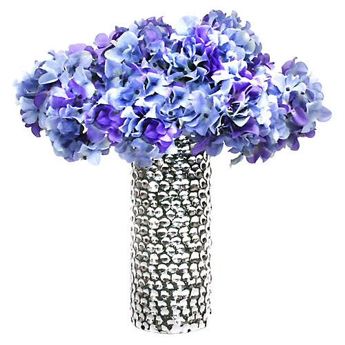 "19"" Purple Hydrangea Arrangement w/ Vase, Faux"