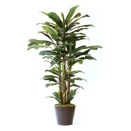 """108"""" Lush Banana Tree w/ Planter, Faux"""