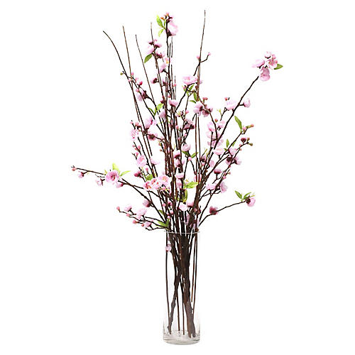 "34"" Pink Blossom Arrangement w/ Tall Vase, Faux"