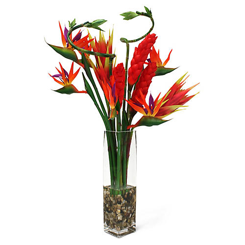 "32"" Tropical Bloom Arrangement w/ Vase, Faux"