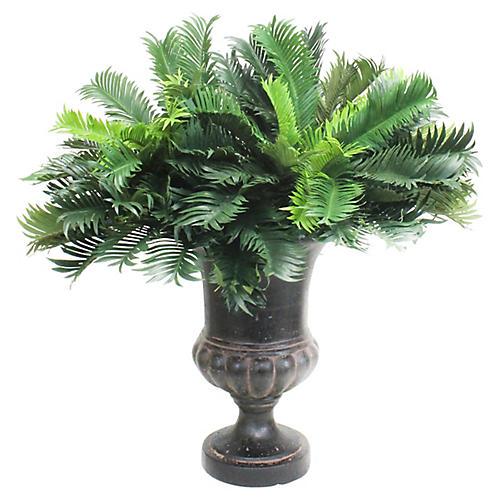 """36"""" Cycas Palm w/ Urn Vessel, Faux"""