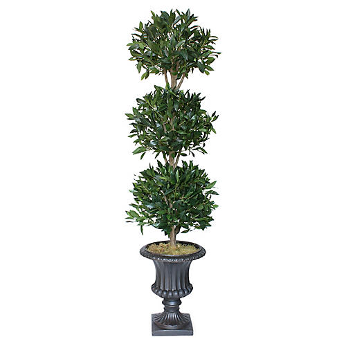 "72"" 3-Ball Bayleaf Topiary w/ Urn Planter, Faux"