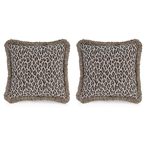 S/2 Amur Leopard Pillows, Gray