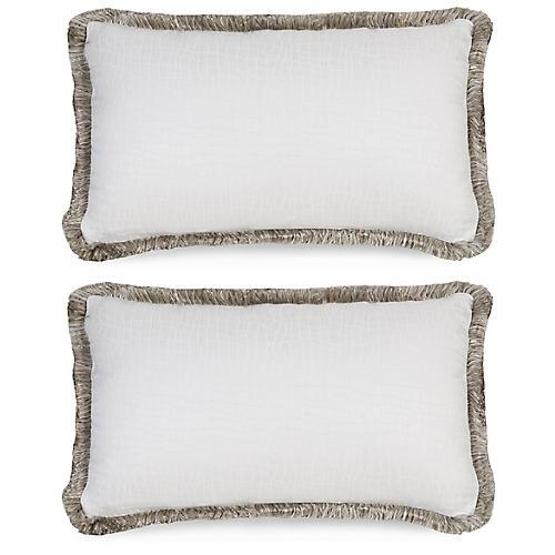 S/2 Flen Bianco Pillows, White/Gray