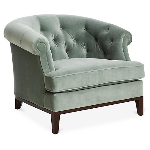 Wilshire Accent Chair, Sage Velvet