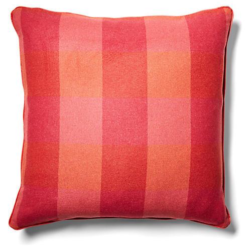 Teagan Plaid 24x24 Pillow, Currant/Red-Orange