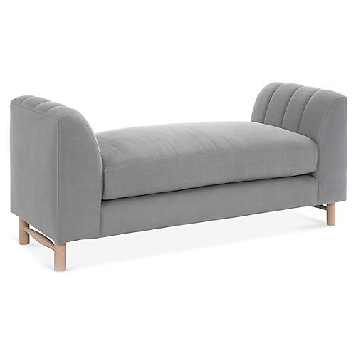 Alden Bench, Light Gray Linen