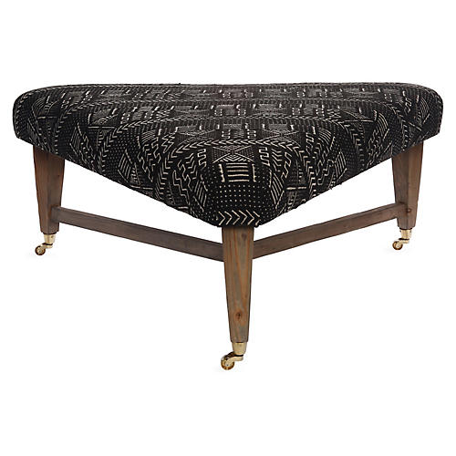 Spencer Cocktail Ottoman, Black/White Mud Cloth
