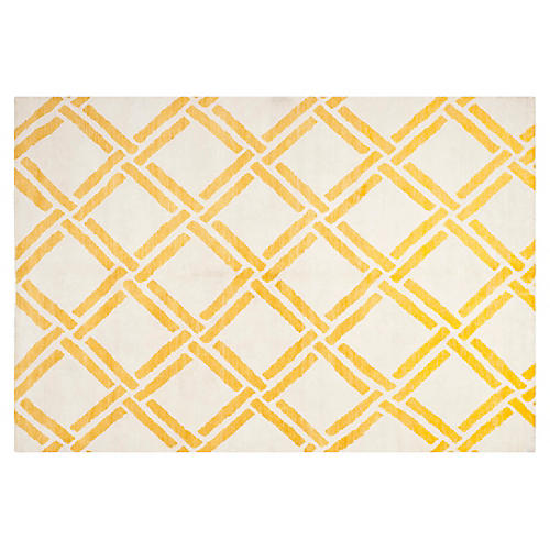 10'x14' Bebe Hand-Knotted Rug, Gold/Ivory
