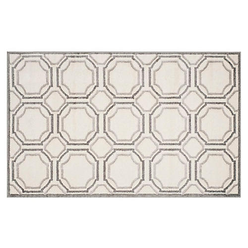 4'x6' Amberly Outdoor Rug, Ivory