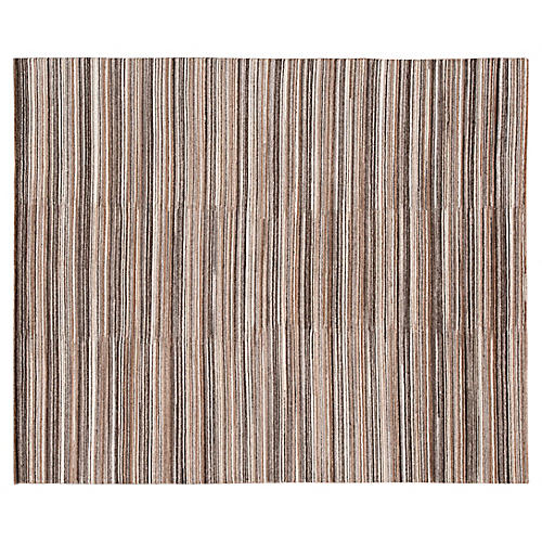 8'x10' Modern Striped Hand-Knotted Rug, Beige