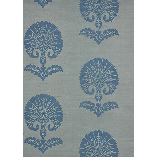 Ottoman Flower Sisal Wallpaper, Mineral
