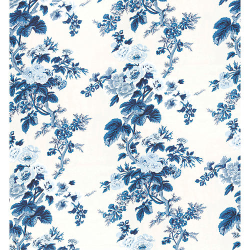 Pyne Hollyhock Wallpaper, Indigo