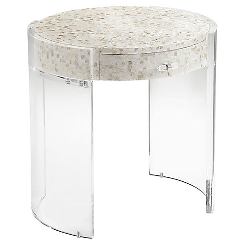Zephyr Nightstand, Ivory/Clear