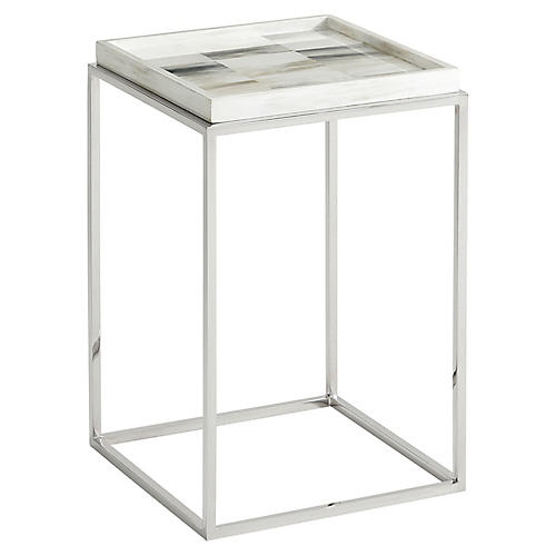 Quadrilaterals Square Side Table, Ivory
