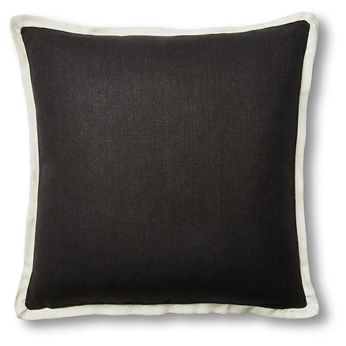 Claude 22x22 Pillow, Black/White Linen