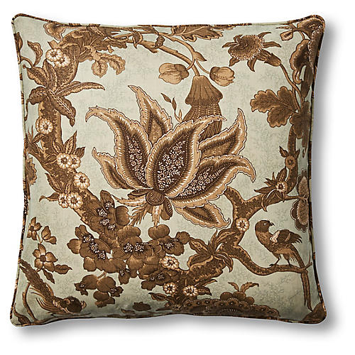Sanderling 22x22 Pillow, Ivory/Brown Linen
