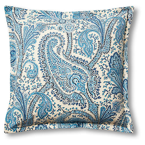 Santina 22x22 Pillow, Blue/Oyster