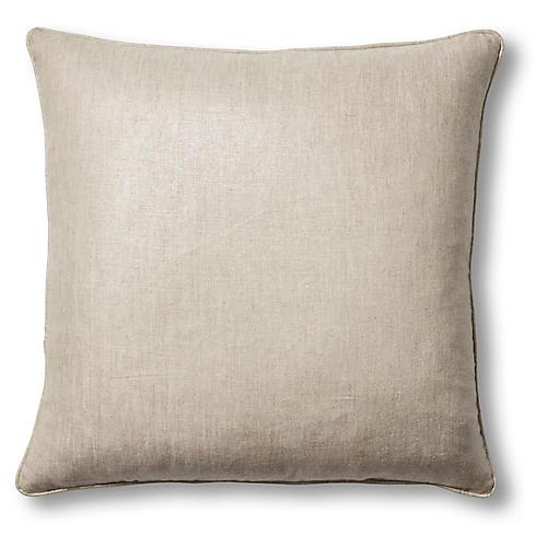 Troy 22x22 Pillow, Platinum Linen