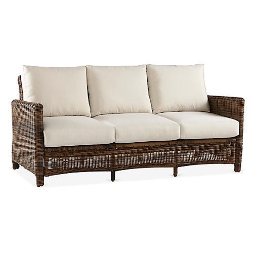 Del Ray Wicker Sofa, Chestnut/Canvas