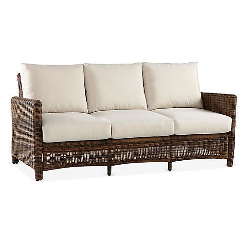 Del Ray Wicker Sofa, Chestnut/Canvas