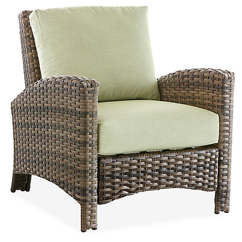 Panama Wicker Club Chair, Brown/Green