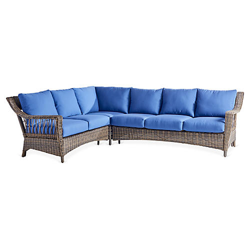 St. John Wicker Sectional, Brown/Blue