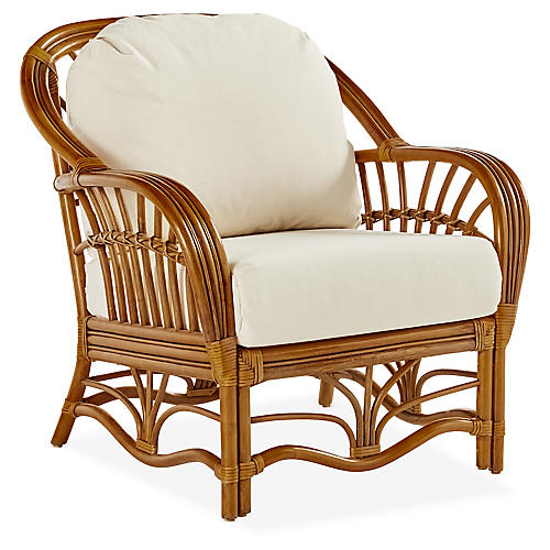 Palm Harbor Rattan Club Chair, Natural/White