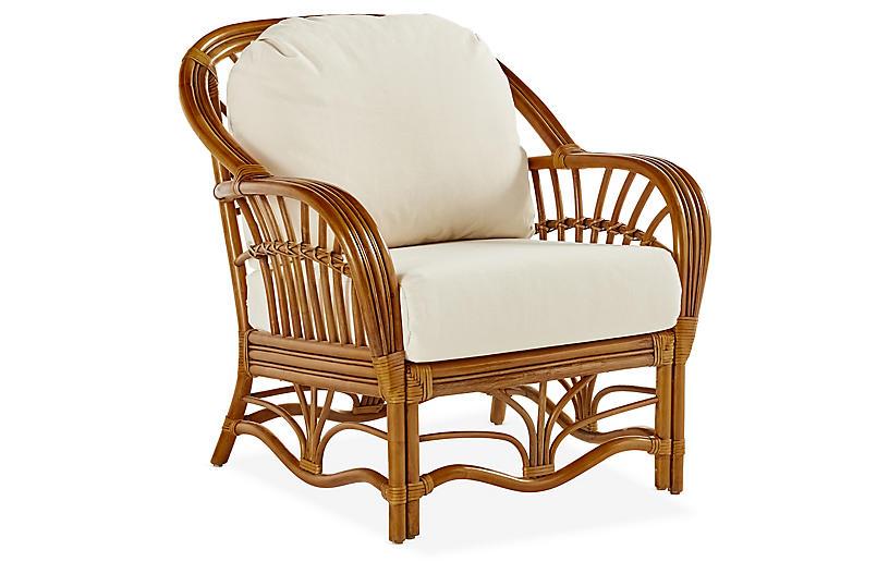 Palm Harbor Rattan Club Chair, Natural/White