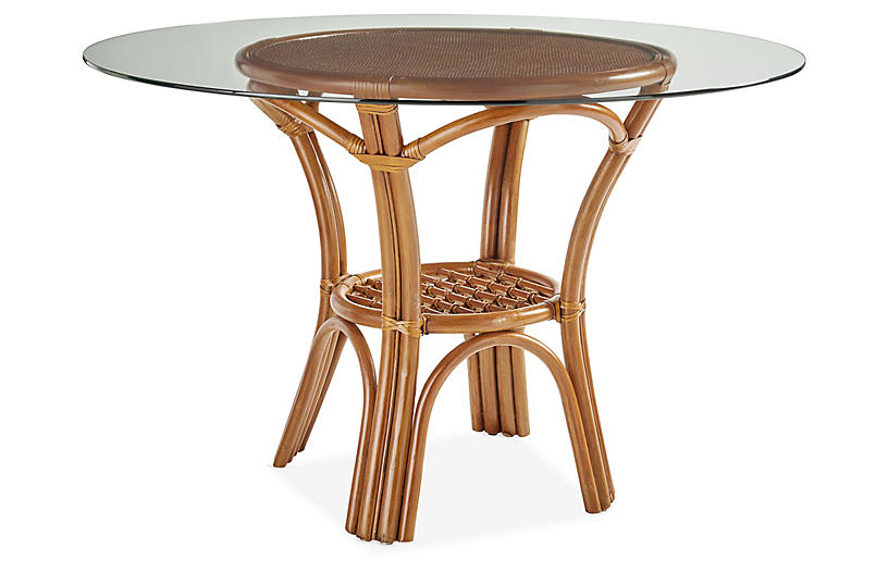Palm Harbor Rattan Round Dining Table, Natural