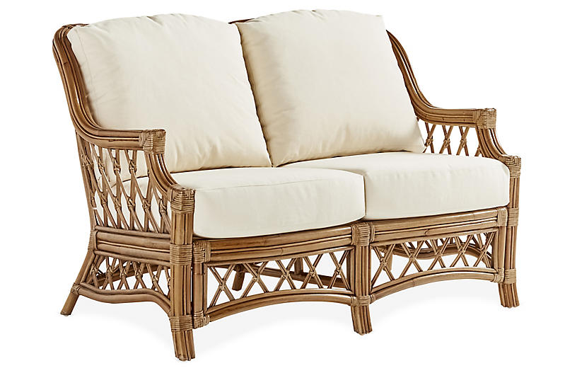 Nadine Rattan Loveseat, Natural/White