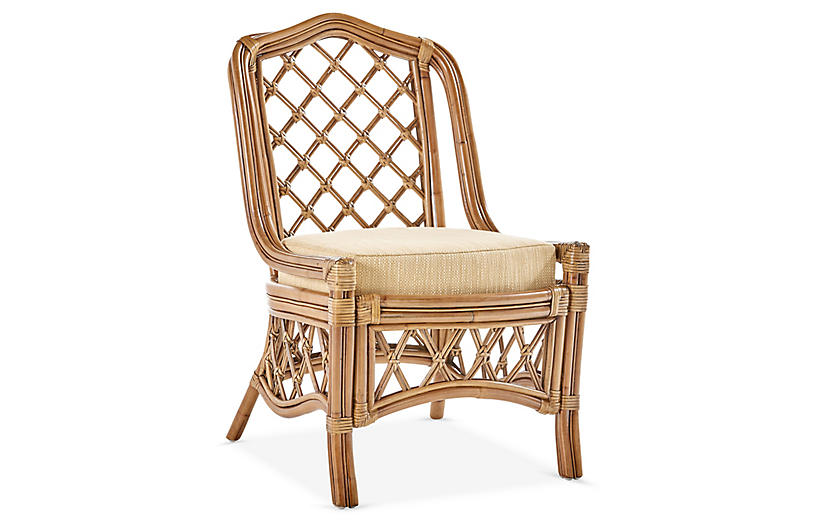 Nadine Rattan Side Chair, Natural/Beige