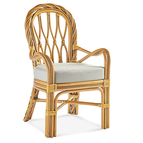 New Twist Rattan Dining Armchair, Natural/White