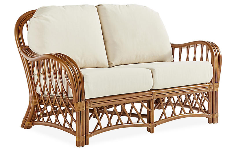 Antigua Rattan Loveseat, Natural/White