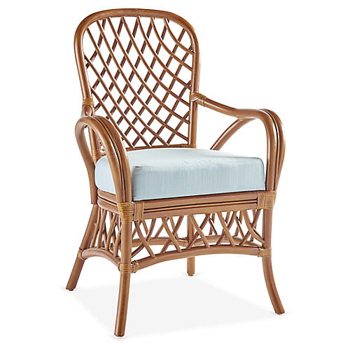 Antigua Rattan Dining Armchair, Natural/Blue