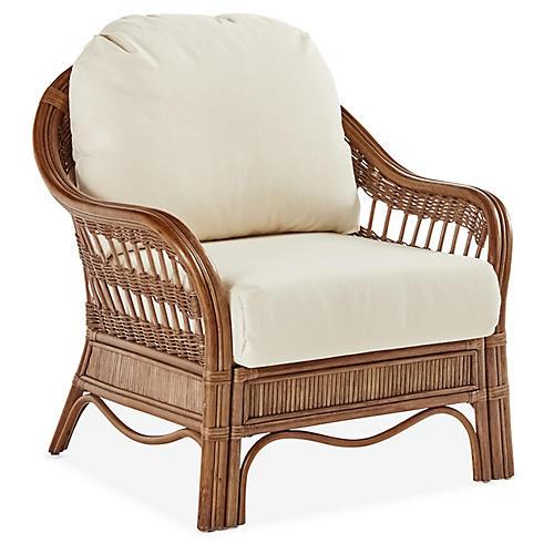 Bermuda Rattan Club Chair, Natural/White