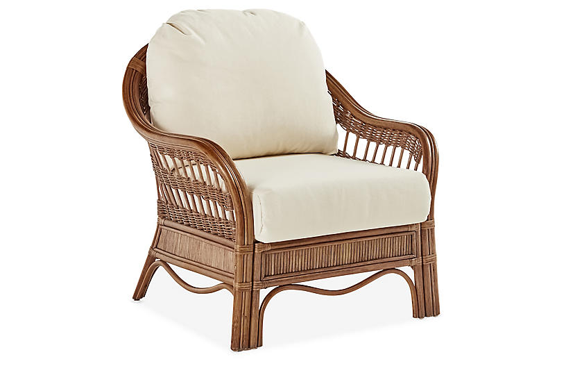 Bermuda Rattan Club Chair, Natural/White
