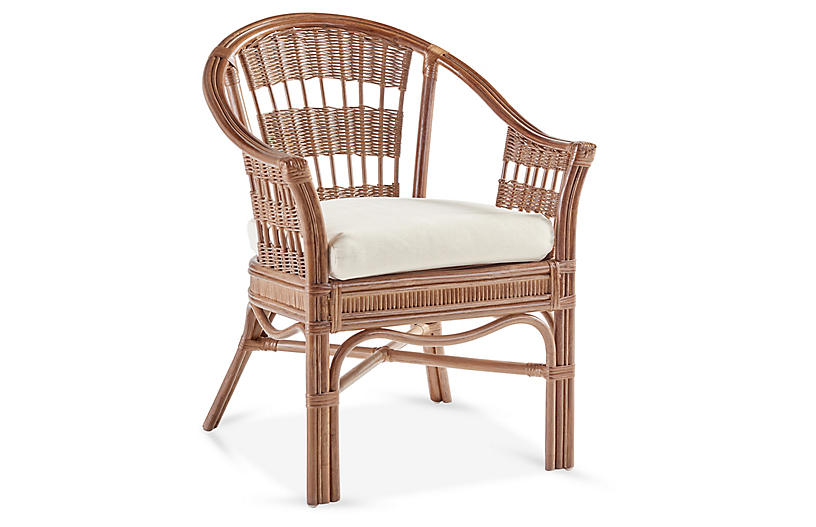 Bermuda Rattan Captains Chair, Natural/White