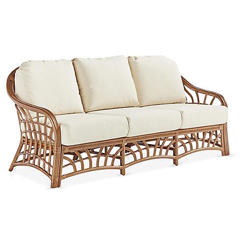 New Kauai Rattan Sofa, Natural/White